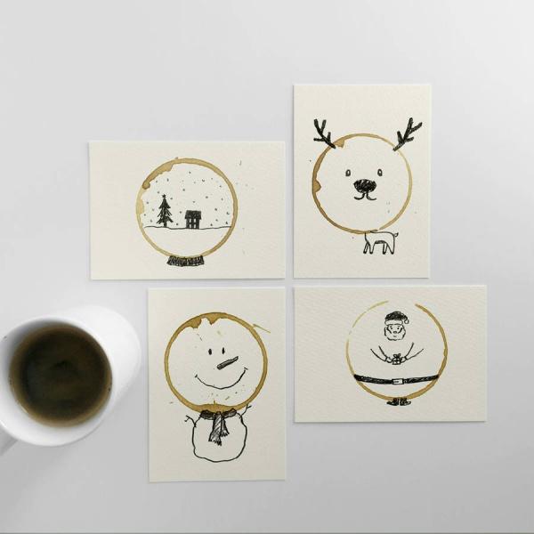 Postales de Navidad realizadas con manchas de café